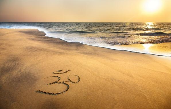 Picture sand, sea, beach, sunset, shore, beach, sea, ocean, sunset, sand, indian, om symbol, brahma