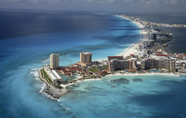 Picture beach, the sky, water, the ocean, home, Mexico, Mexico, Cancun