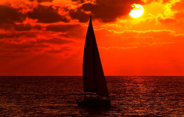 Picture sea, the sky, the sun, clouds, sunset, boat, yacht, sail