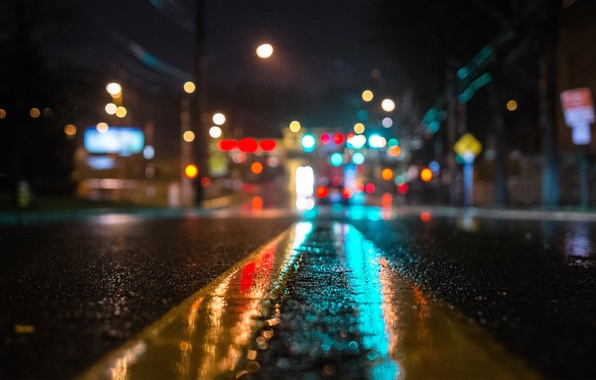 Picture asphalt, macro, light, night, lights, rain, street, Road, bokeh