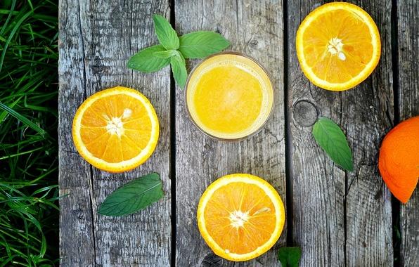 Picture grass, leaves, glass, Board, oranges, juice, fruit, citrus