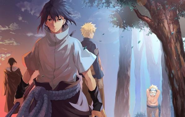 Picture naruto, anime, art, Itachi Uchiha, Uchiha Sasuke, Naruto Uzumaki
