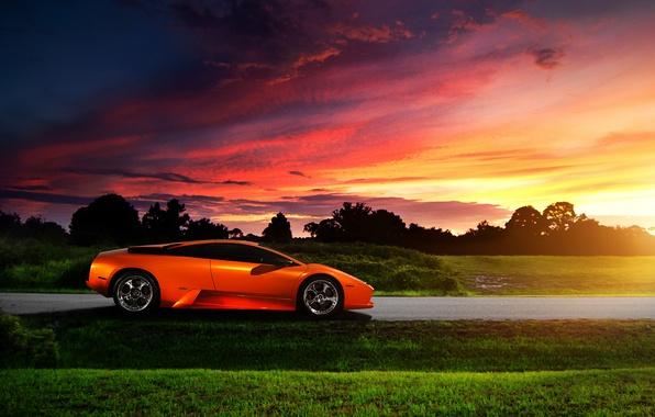 Picture the sky, sunset, Lamborghini, Blik, Murcielago, orange, profile
