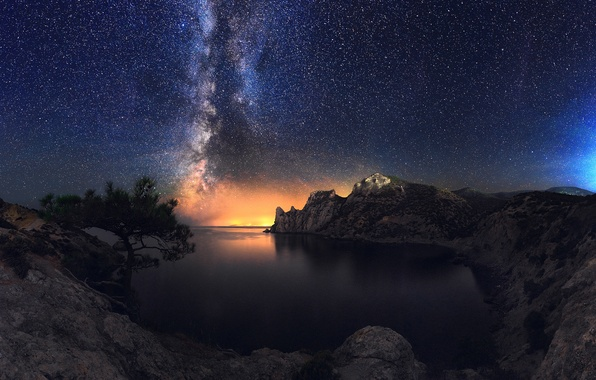 Picture sea, the sky, stars, night, stones, rocks, shore, Bay, the milky way