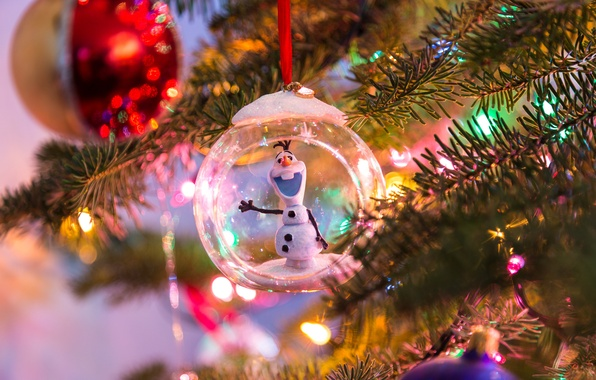 Picture branches, blur, Balls, snowman