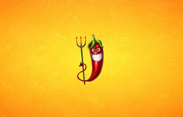 Picture red, smile, minimalism, Trident, pepper, light background, Chile, pepper