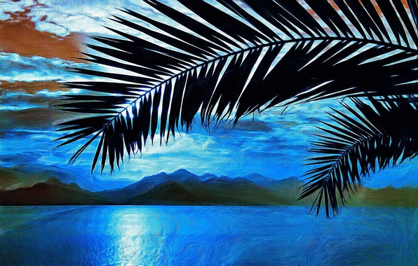 Picture sea, palm trees, picture, branch, art, painting, painting, mountains.
