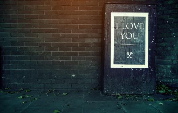 Picture text, wall, the inscription, bricks, keys, I love you