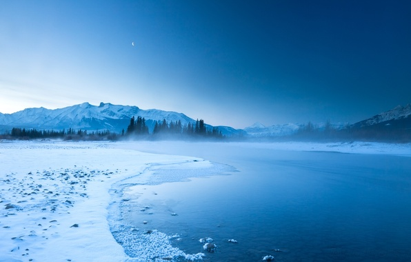 Picture the sky, mountains, night, fog, river, rocks, hills, the moon, shore
