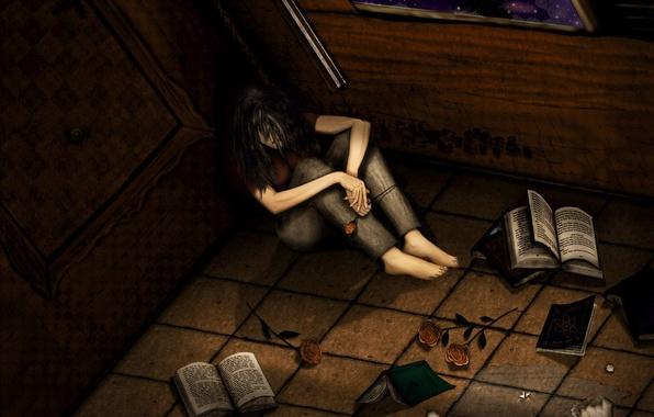 Picture sadness, figure, books
