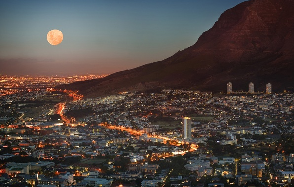 Picture the sky, light, lights, the moon, view, height, mountain, home, skyscrapers, panorama, twilight, megapolis, South …