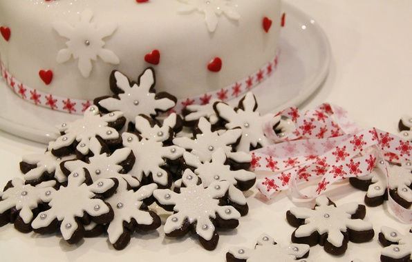 Picture white, snowflakes, holiday, food, cookies, Christmas, tape, hearts, cake, New year, beautiful, Christmas, Treat, holiday