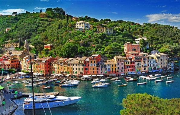 Picture sea, trees, landscape, nature, the city, rocks, coast, building, home, boats, Italy, Italy, province, Portofino, …