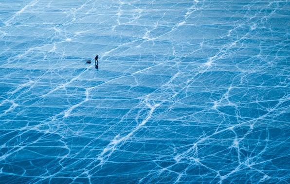 Picture people, ice, fisherman, Russia, lake Baikal