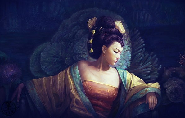 Picture girl, corals, art, hairstyle, geisha