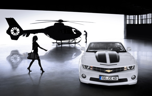 Picture girl, Chevrolet, Camaro, helicopter, Convertible 2012
