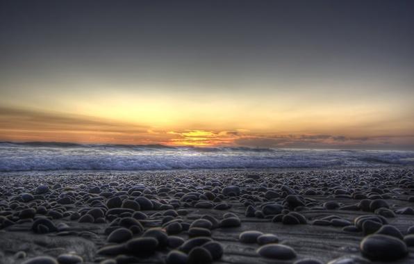 Picture sea, wave, sunset, pebbles, stones, shore
