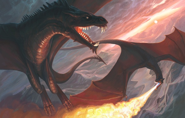 Picture sunset, mountains, fire, dragons, art, monsters, in the sky, Atenebris
