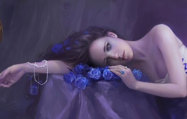 Picture girl, decoration, bird, hand, roses, ring, cell, art, beads, blue, lying