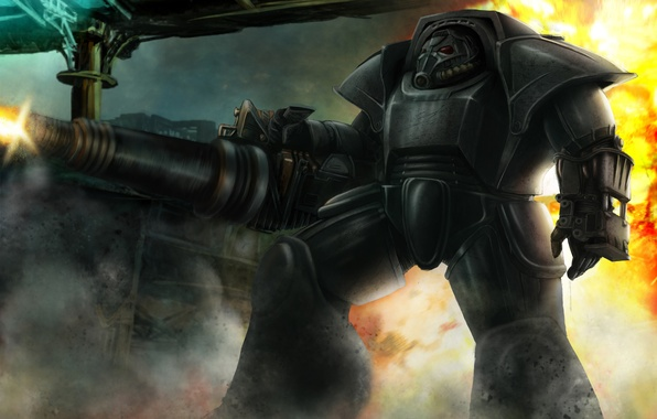 Picture armor, fallout, Warhammer 40000, fan art, Warhammer 40K, WH40K, brother of steel
