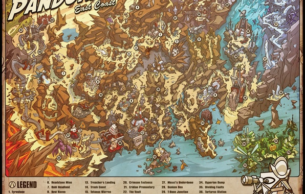 Picture map, Borderlands, detailed, East Coast, Pandoras