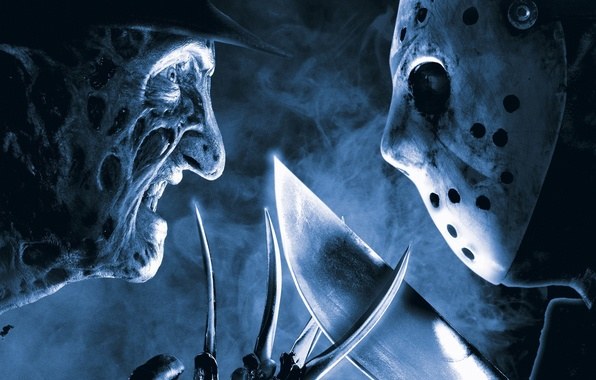 Picture horror, Friday the 13th, Jason Voorhees, smoke, hat, eyes, machete, face, film, mask, 2003, Freddy …