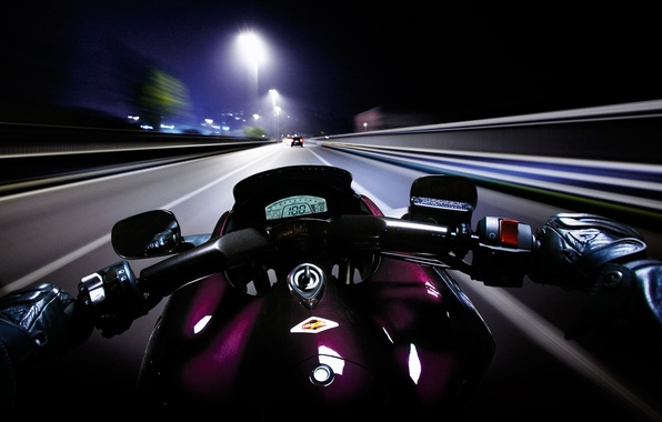 Picture road, night, speed, motorcycle