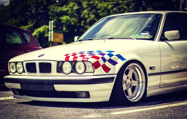 Picture lights, BMW, BMW, white, white, tuning, E34, stance, 520i