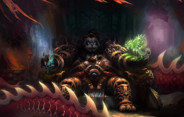 Picture magic, dragons, art, Panda, World of Warcraft, the throne, Mists of Pandaria