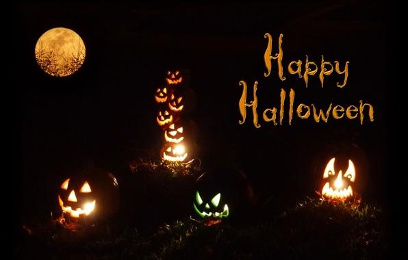 Picture light, night, lights, fire, the moon, pumpkin, Halloween