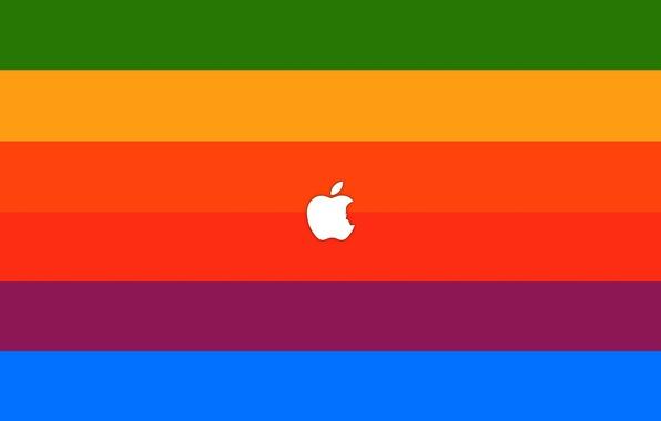 Picture sign, paint, apple, minimalism, colors, logo, logo, minimalism, sign, brand, brand, 2560x1600, steve jobs