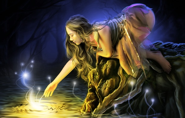 Picture water, girl, light, trees, face, lights, dress, profile, long hair, stretches