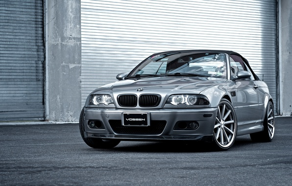 Picture BMW, silver, BMW, convertible, E46, the front part, silvery, Cabrio