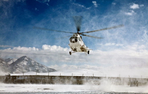 Picture snow, mountains, helicopter, blades, mi-8