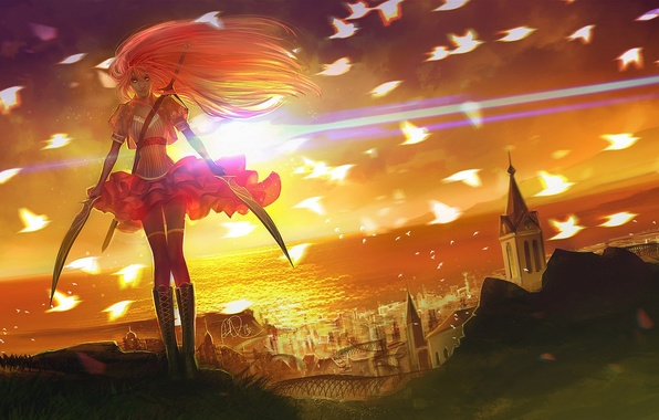 Picture girl, the sun, sunset, birds, the city, weapons, the ocean, art, swords, anndr
