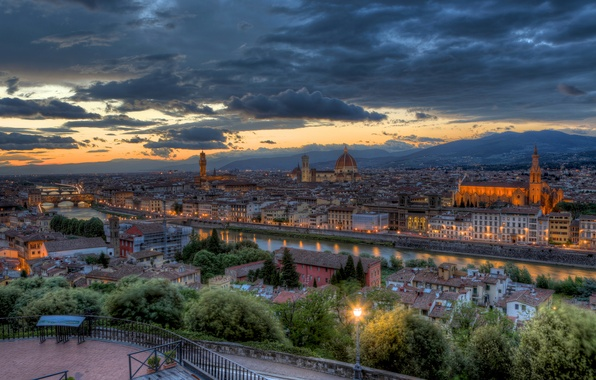 Picture trees, sunset, bridge, lights, river, the evening, backlight, lights, Italy, panorama, Florence, architecture, Tuscany