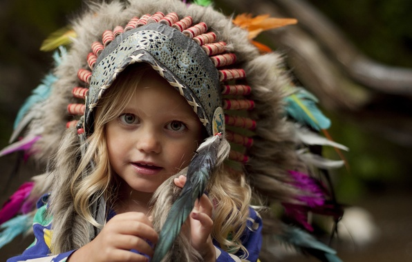 Picture look, feathers, girl, headdress