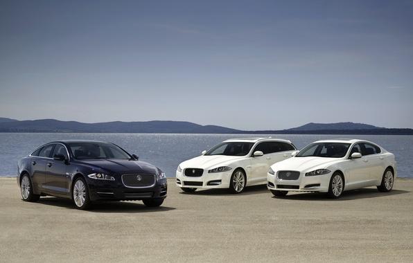 Picture white, the sky, water, blue, Jaguar, horizon, Jaguar, sedan, the front, universal, Ixef, Ixga