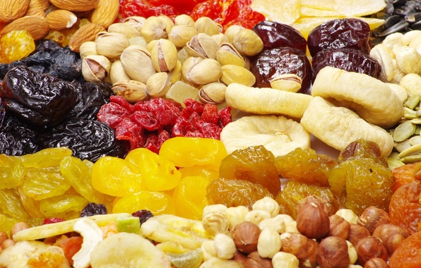 Picture food, nuts, seeds, almonds, hazelnuts, raisins, pistachios, figs, dried apricots, dried fruits, prunes, useful