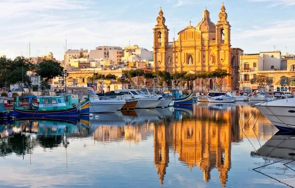 Picture reflection, boats, Cathedral, boats, harbour, Malta, Malta, Valletta, Valletta
