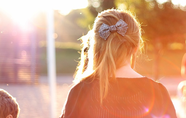 Picture girl, the sun, rays, background, widescreen, Wallpaper, mood, hair, wallpaper, decoration, bow, widescreen, barrette, background, …