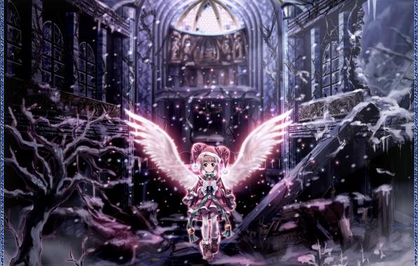 Picture winter, girl, angel, anime, the ruins, Card Captor Sakura