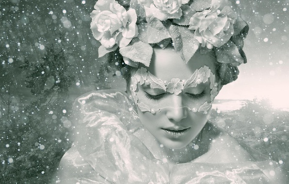 Picture winter, girl, flowers, style, mood, roses, mask, black and white, wreath, monochrome