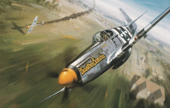 Wallpaper aviation, ww2, painting, german fighter, p-51 ...