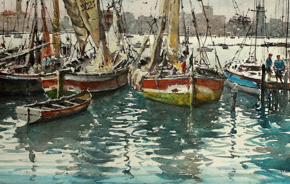 Picture picture, yachts, boats, watercolor, sail, harbour, seascape, Maximilian DAmico