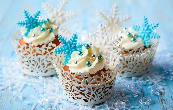 Picture winter, snowflakes, food, cake, cake, cream, dessert, food, winter, sweet, sweet, cupcake, cupcakes, cream, dessert, …