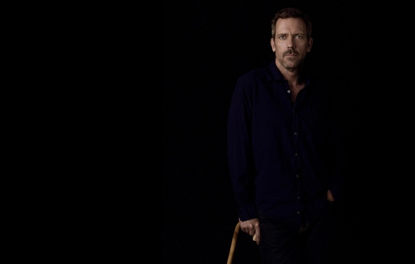 Picture the dark background, cane, actor, shirt, Hugh Laurie, Dr. house, house m.d., Hugh Laurie