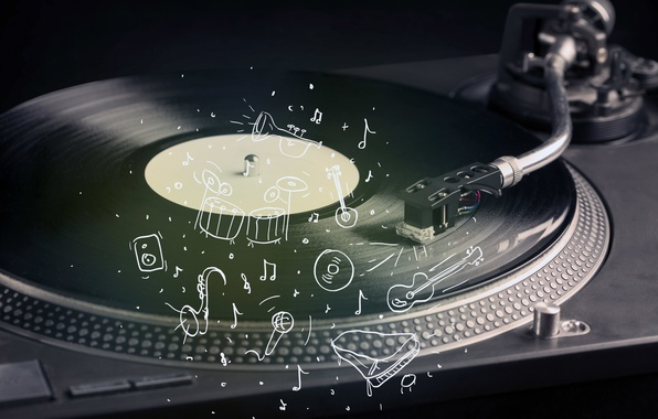 Picture retro, creative, guitar, music, player, vinyl, microphone, record, tool, party, piano, record, installation, shock, music, ...