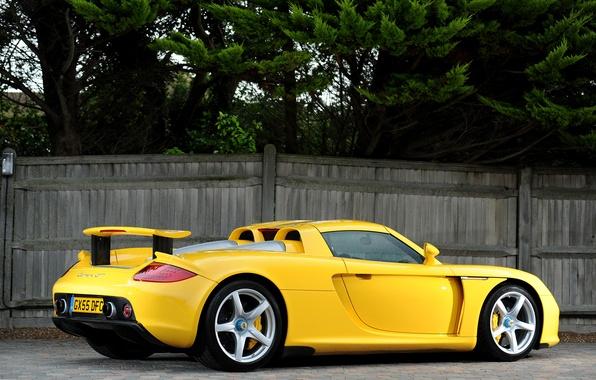 Picture yellow, Porsche, supercar, Porsche, rear view, Carrera GT, Carrera GT