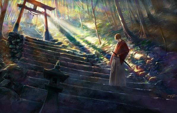 Picture trees, nature, weapons, katana, anime, art, samurai, ladder, rurouni kenshin, himura kenshin, shitub52, hobo Kenshin
